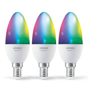 LEDVANCE SMART+ WiFi E14 5W kynttilä RGBW 3 kpl