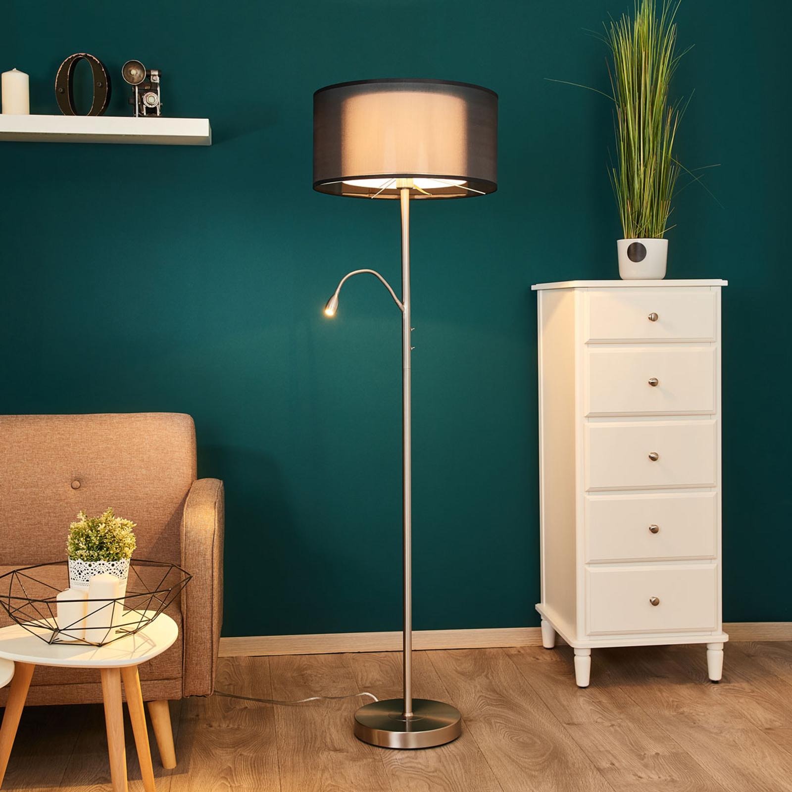 Van een leeslamp voorziene vloerlamp Damento