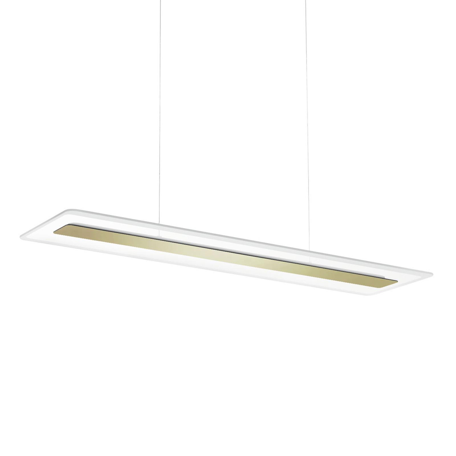 LED hanglamp Antille, glas, rechthoekig, goud