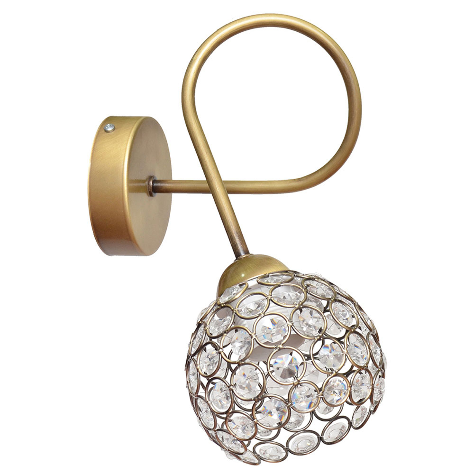 Wandleuchte Oxford in Gold mit Kristallen