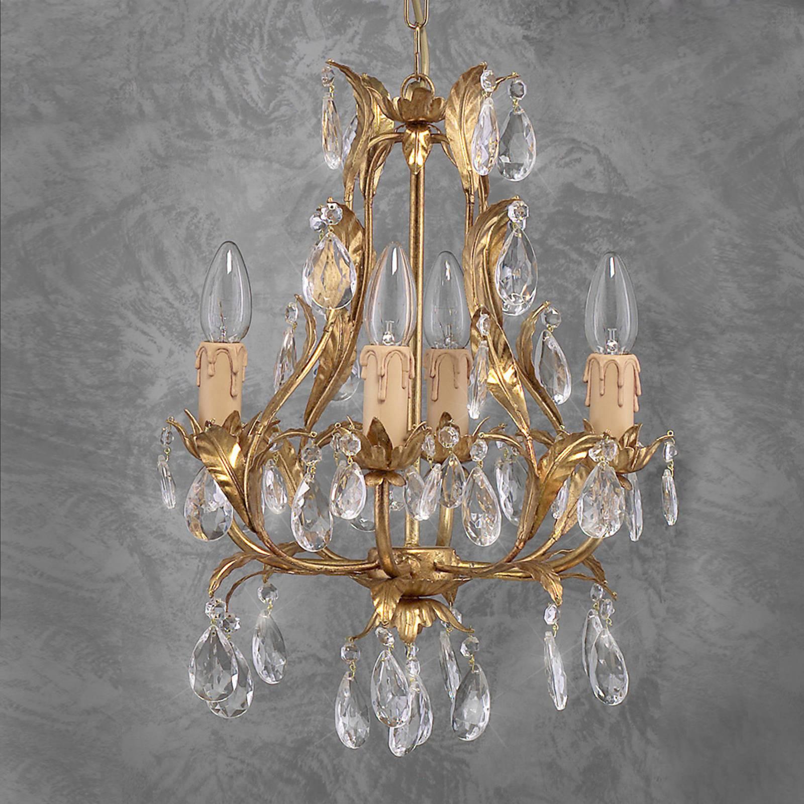 Szlachetny żyrandol PISA złoty szkło