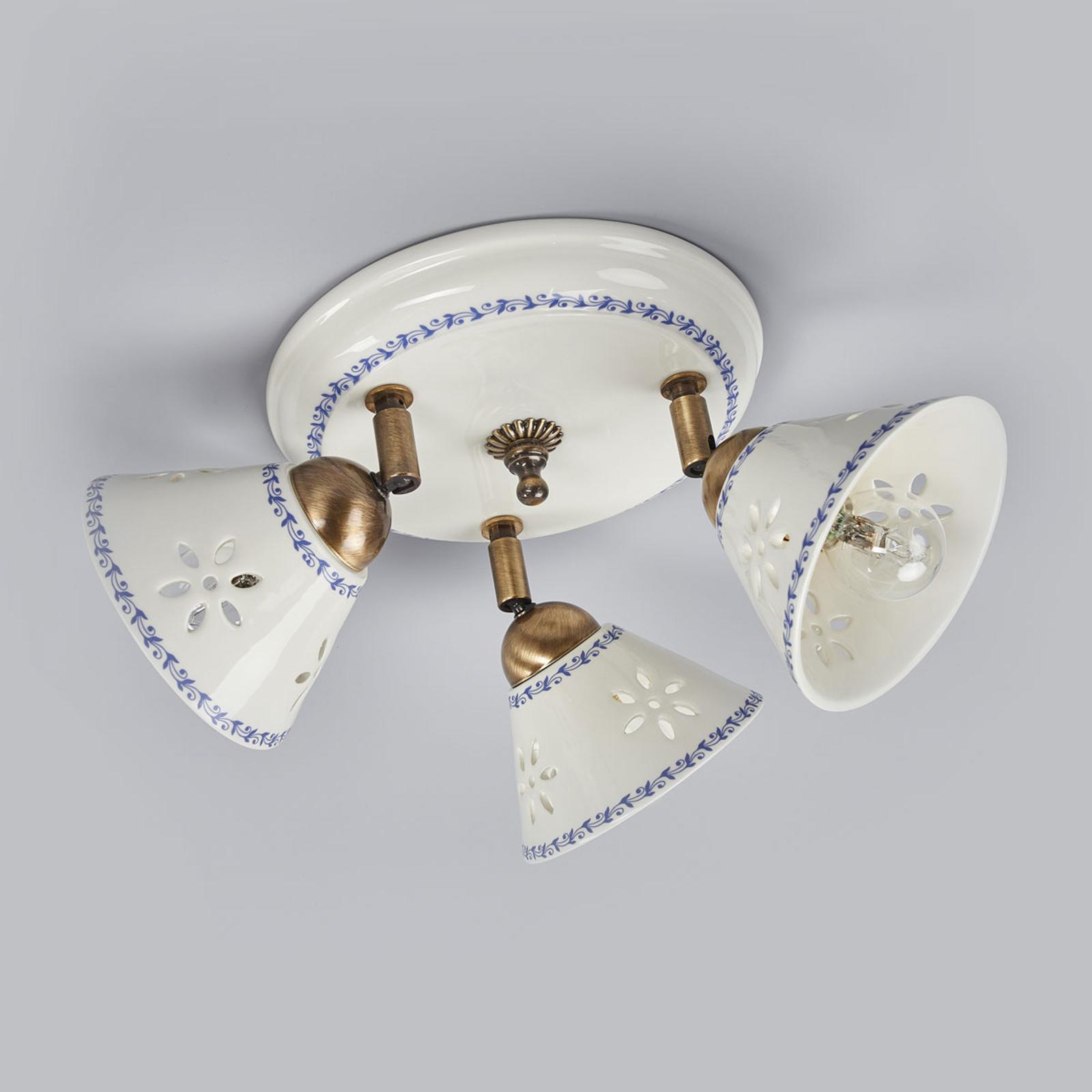 Lámpara de techo NONNA, cerámica blanca, 3 llamas