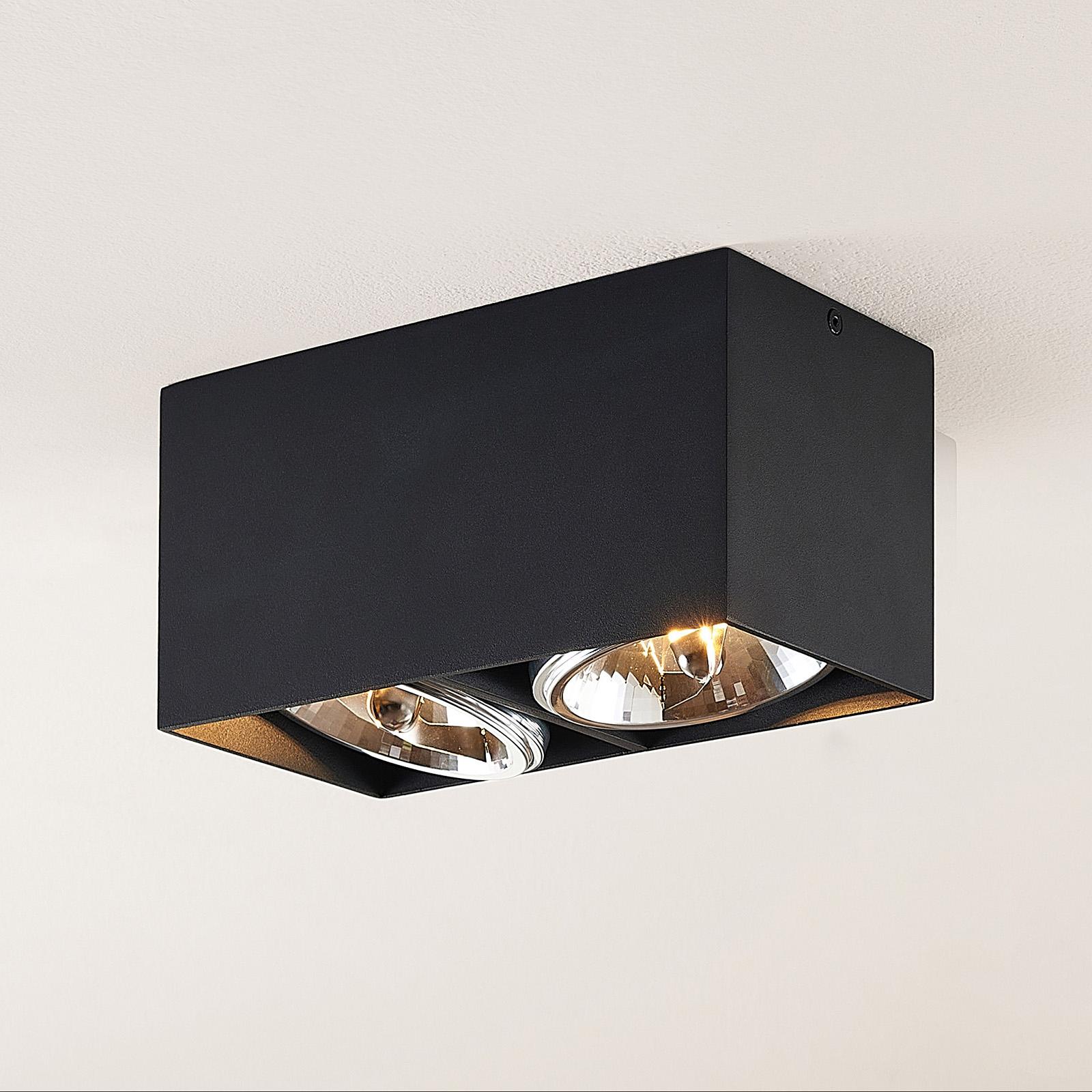 Arcchio Jarle plafondlamp, 2-lamps zwart