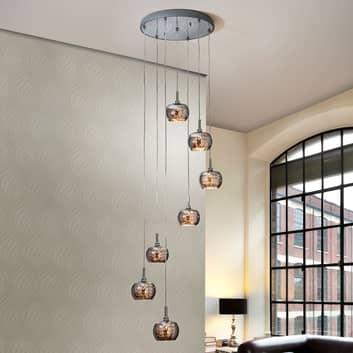 LED-hengelampe Arian med krystaller, 7 lyskilder