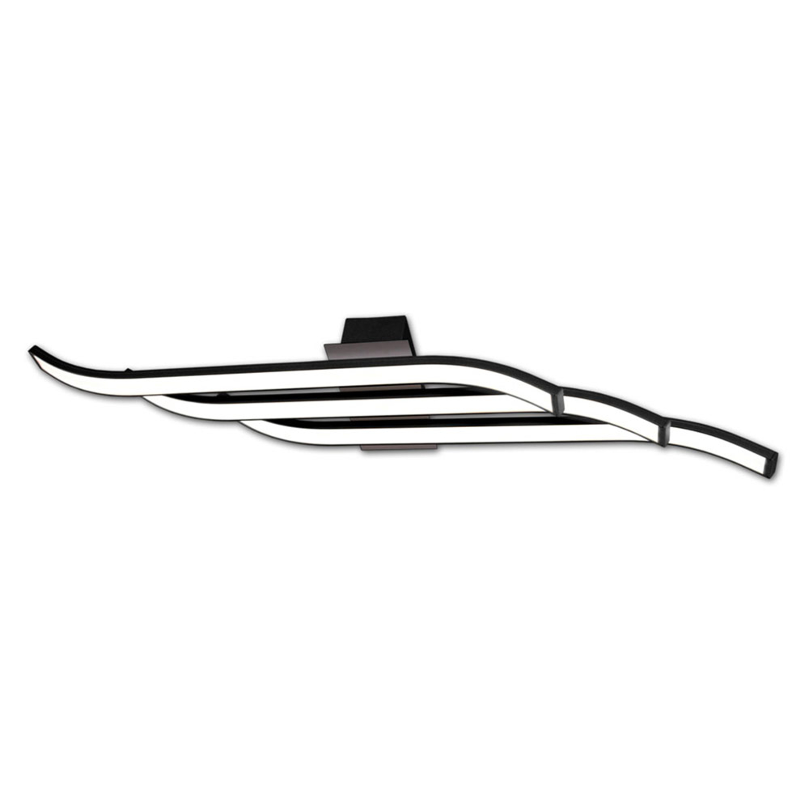 Lámpara LED de techo Largo ondulada, negro