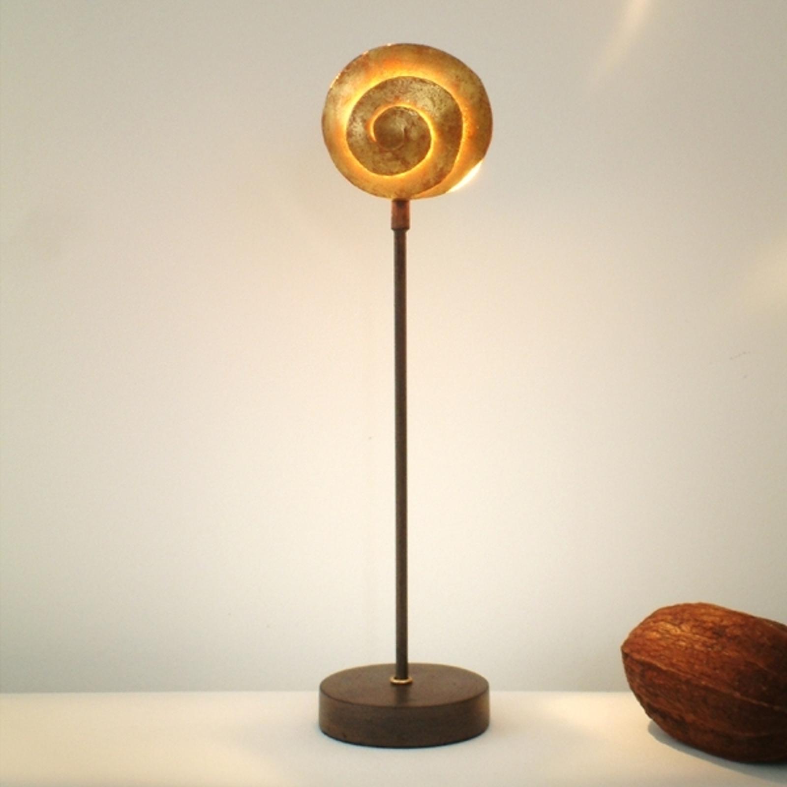 Vakker bordlampe Schnecke Gold av jern