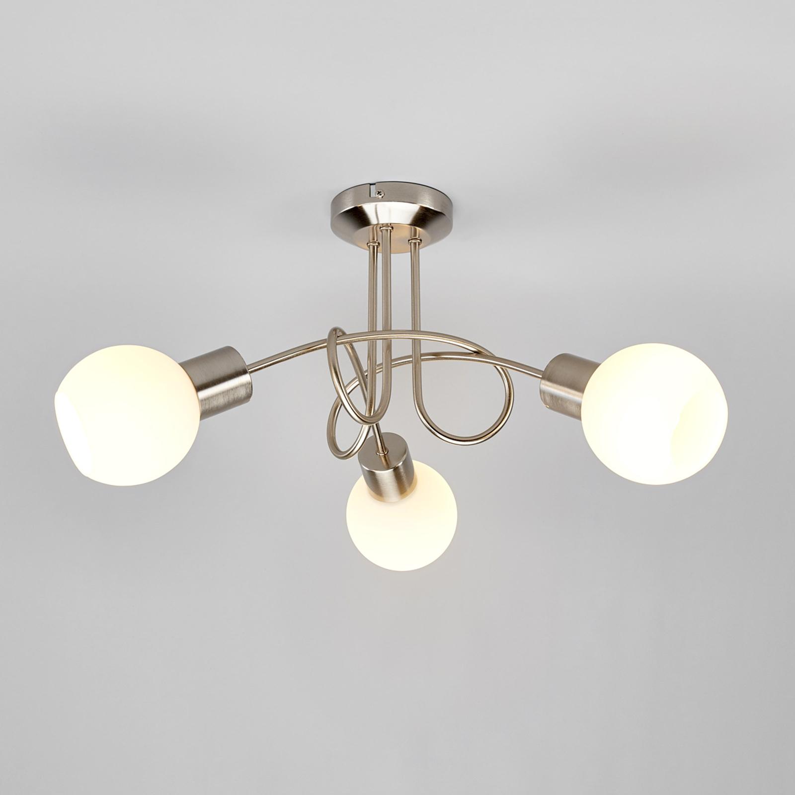 LED-Deckenleuchte Elaina 3-flg., nickel matt