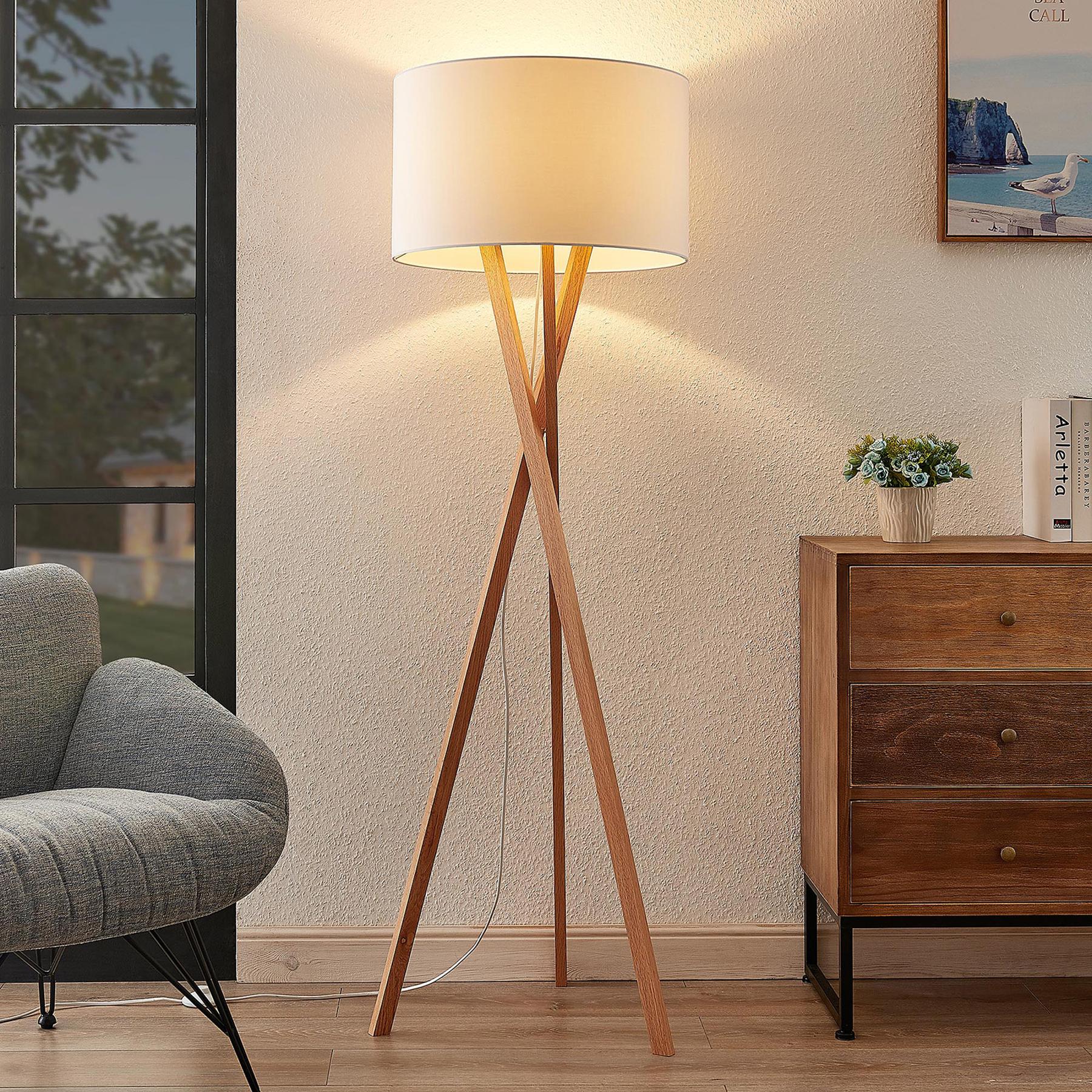 Lucande Auriane tripod-vloerlamp, stof wit