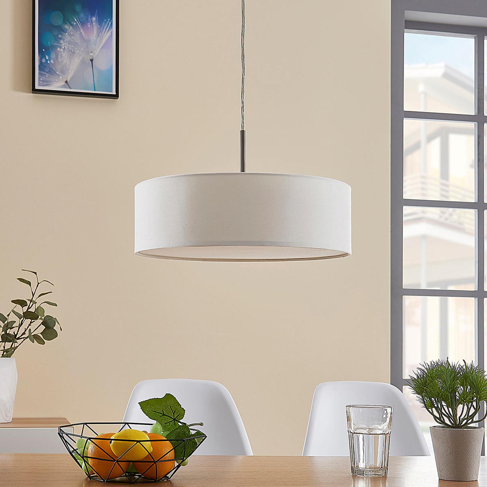 Lámpara suspendidaSebatin de tela color crema