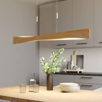 Lucande Lian lámpara colgante LED, madera de roble
