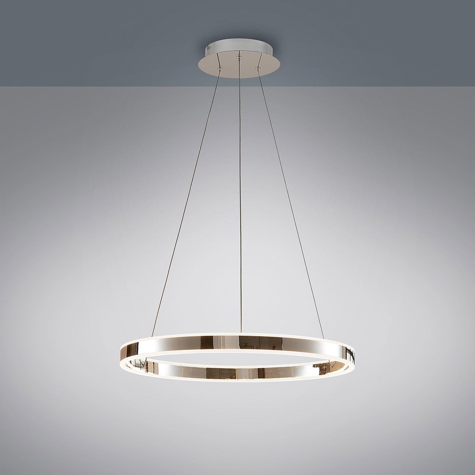 Suspension LED Lyani en chromé, dimmable, 60cm