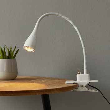 Fleksibel Mento LED-lampe i hvidt med klemme