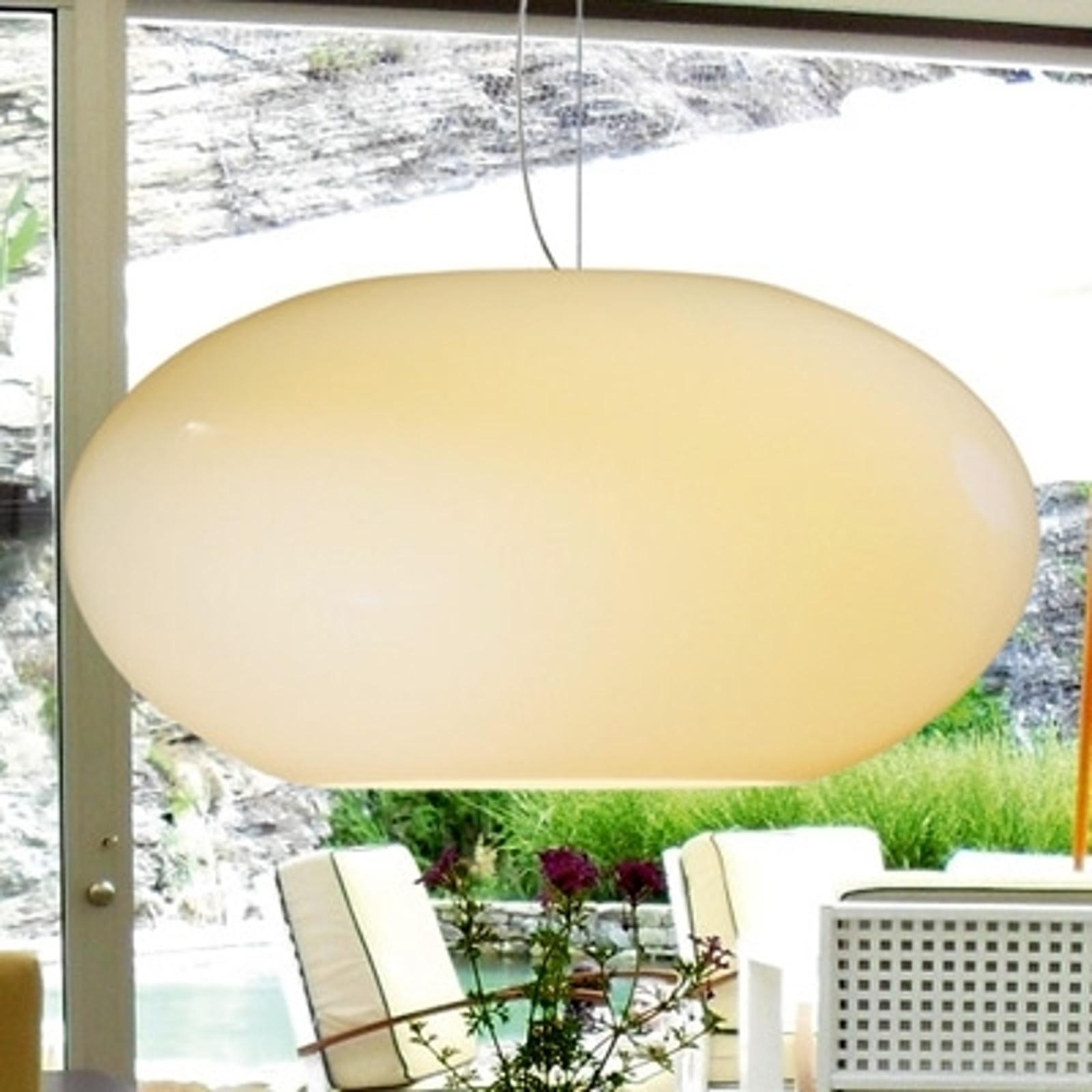 Szklana lampa wisząca AIH 38 cm kremowa błyszcząca