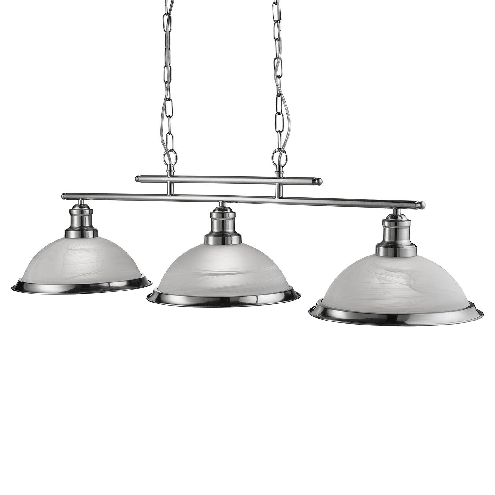 Suspension Bistro à 3 lampes, argenté