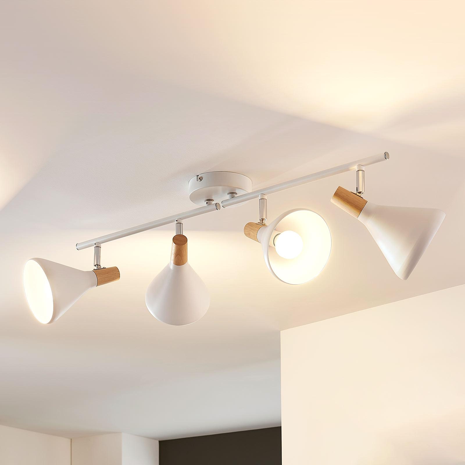 Lámpara LED de techo Arina de 4 brazos, con madera