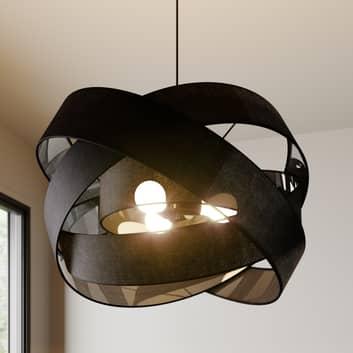 Lindby Simaria lampada a sospensione tessuto nero