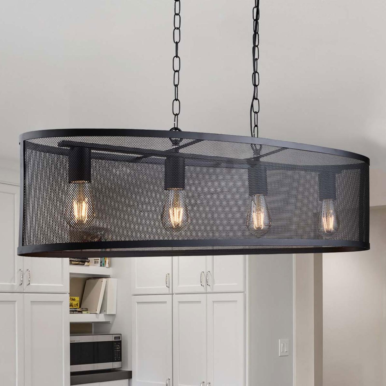 Hanglamp Fishnet in zwart, 91cm lang