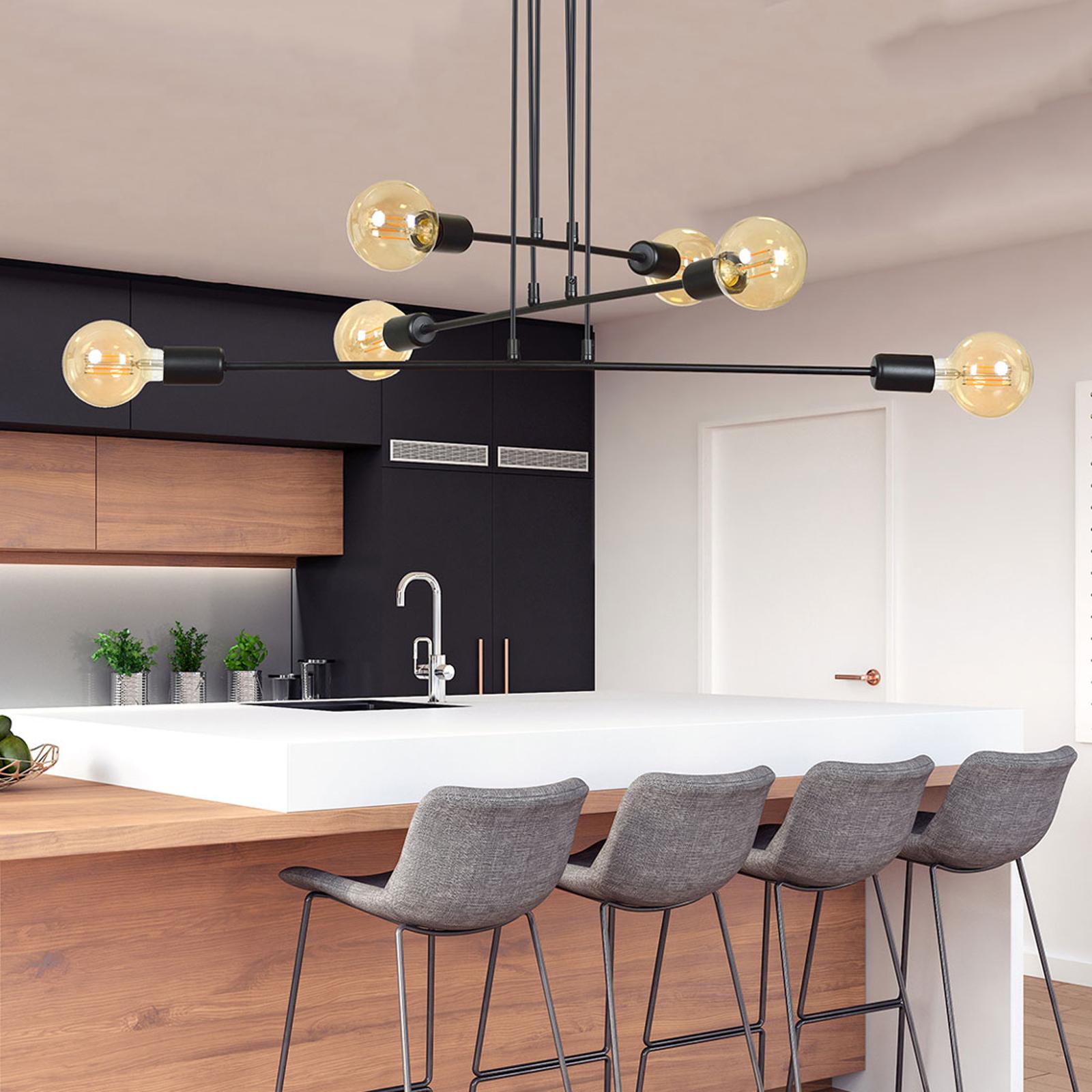 Hanglamp Multipo 6, 6-lamps in zwart