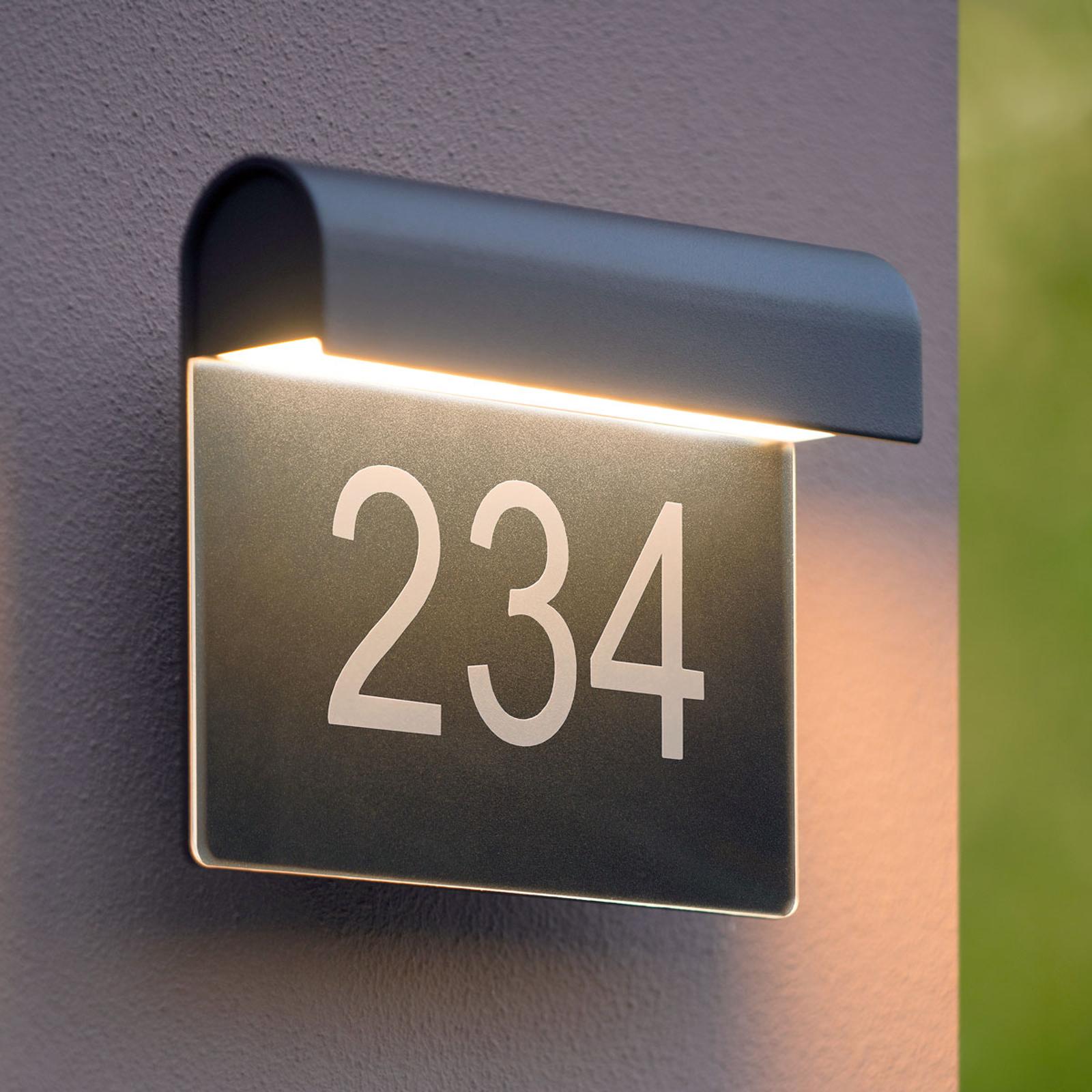 LED-husnummerlampe Thesi, sort