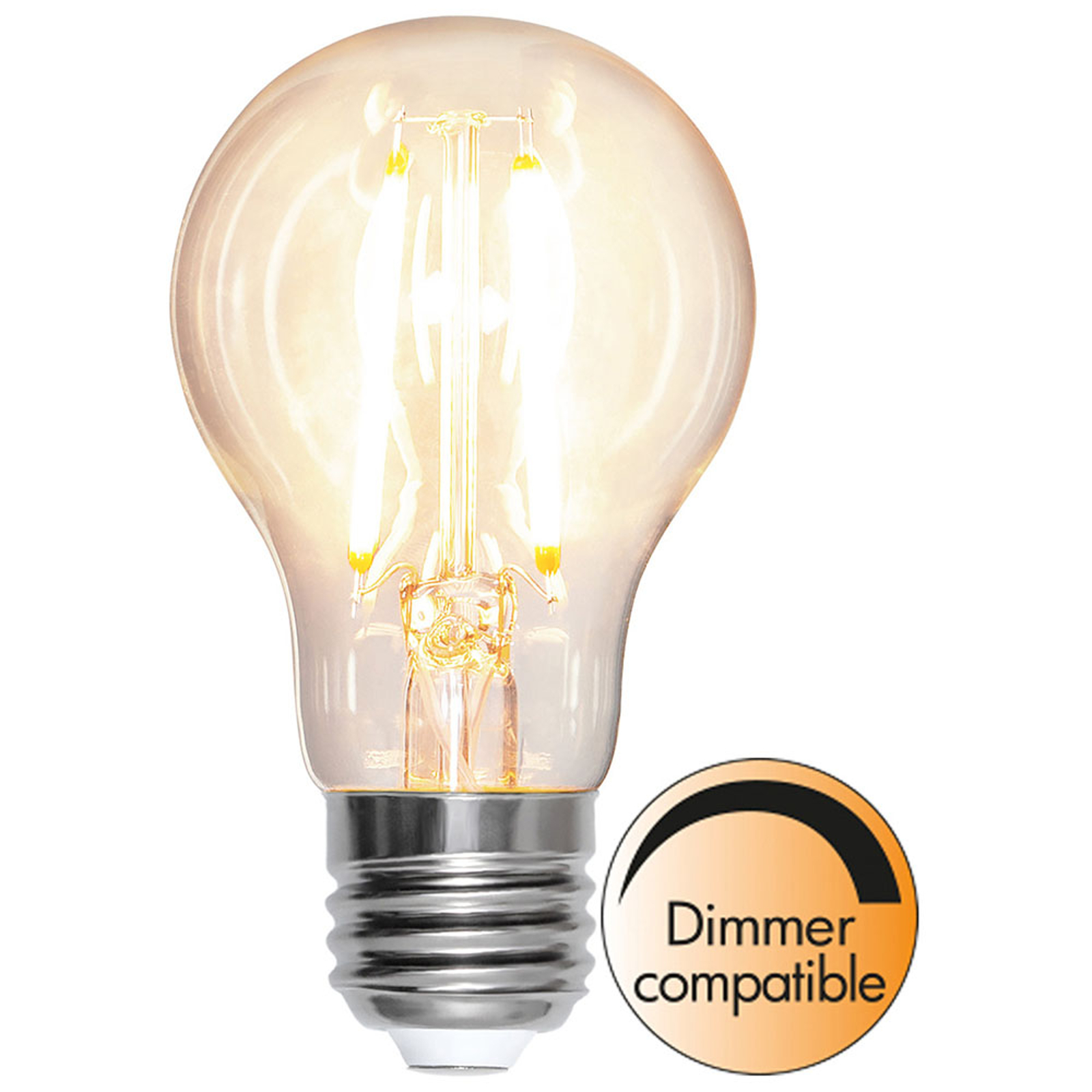 LED-pære E27 A60 8W 2700K filament 810lm dimbar