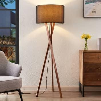 Lucande Auriane trefodet gulvlampe, tekstil sort
