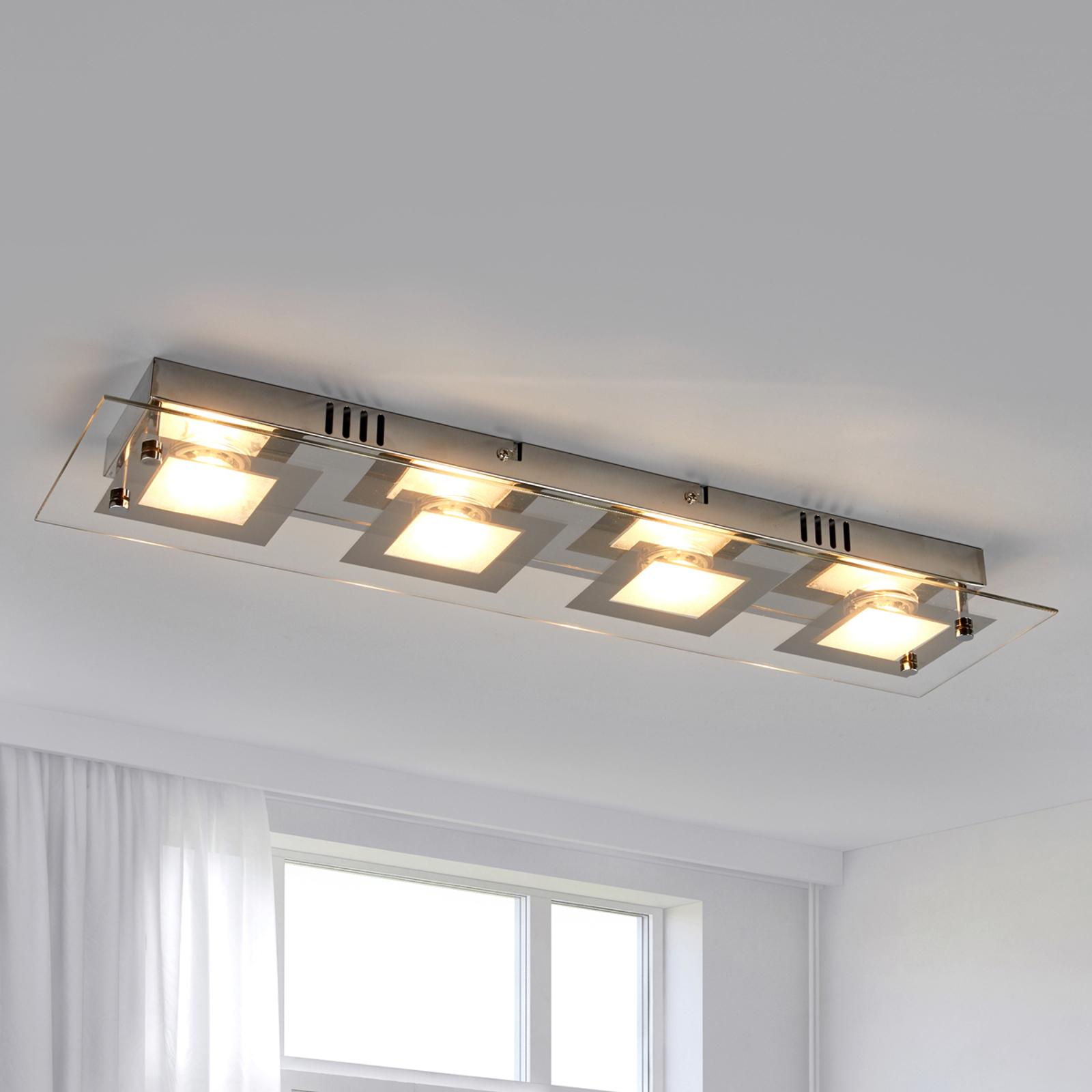 Podłużna lampa sufitowa LED Manja z chromowymi el.