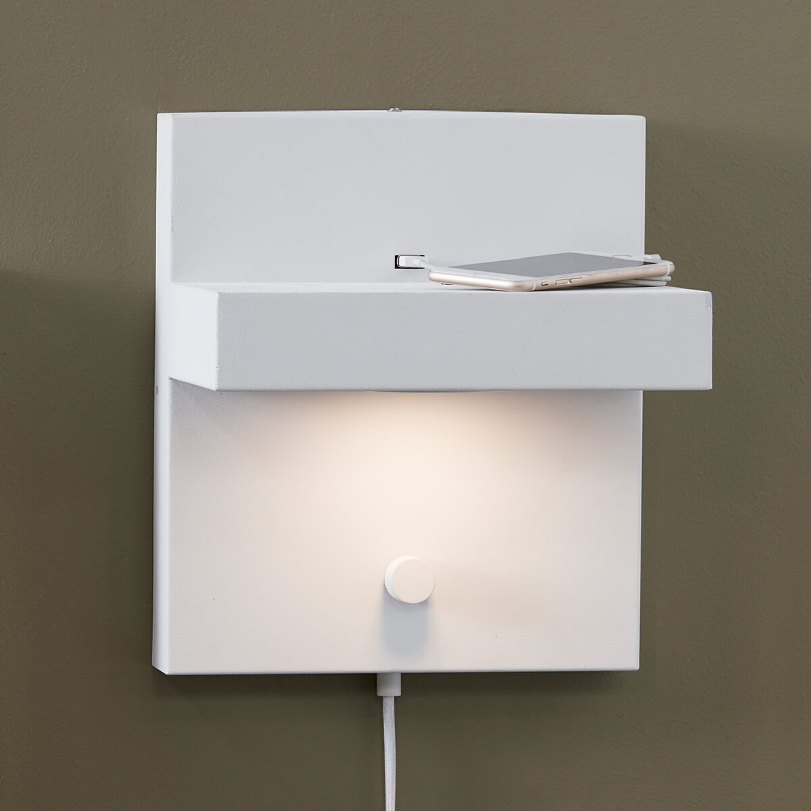 Hvit LED-vegglampe Kubik med USB-ladetilkobling