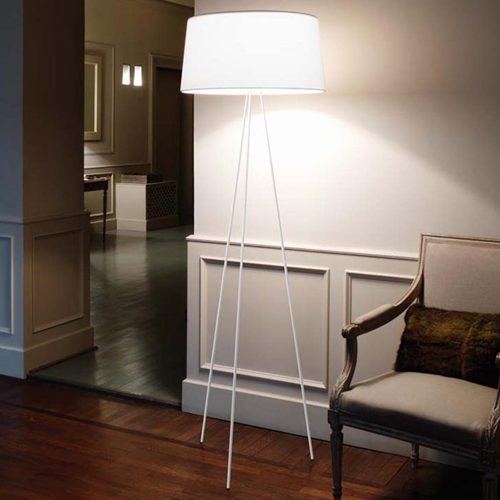 Lampadaire trépied Tripod blanc cadre gris