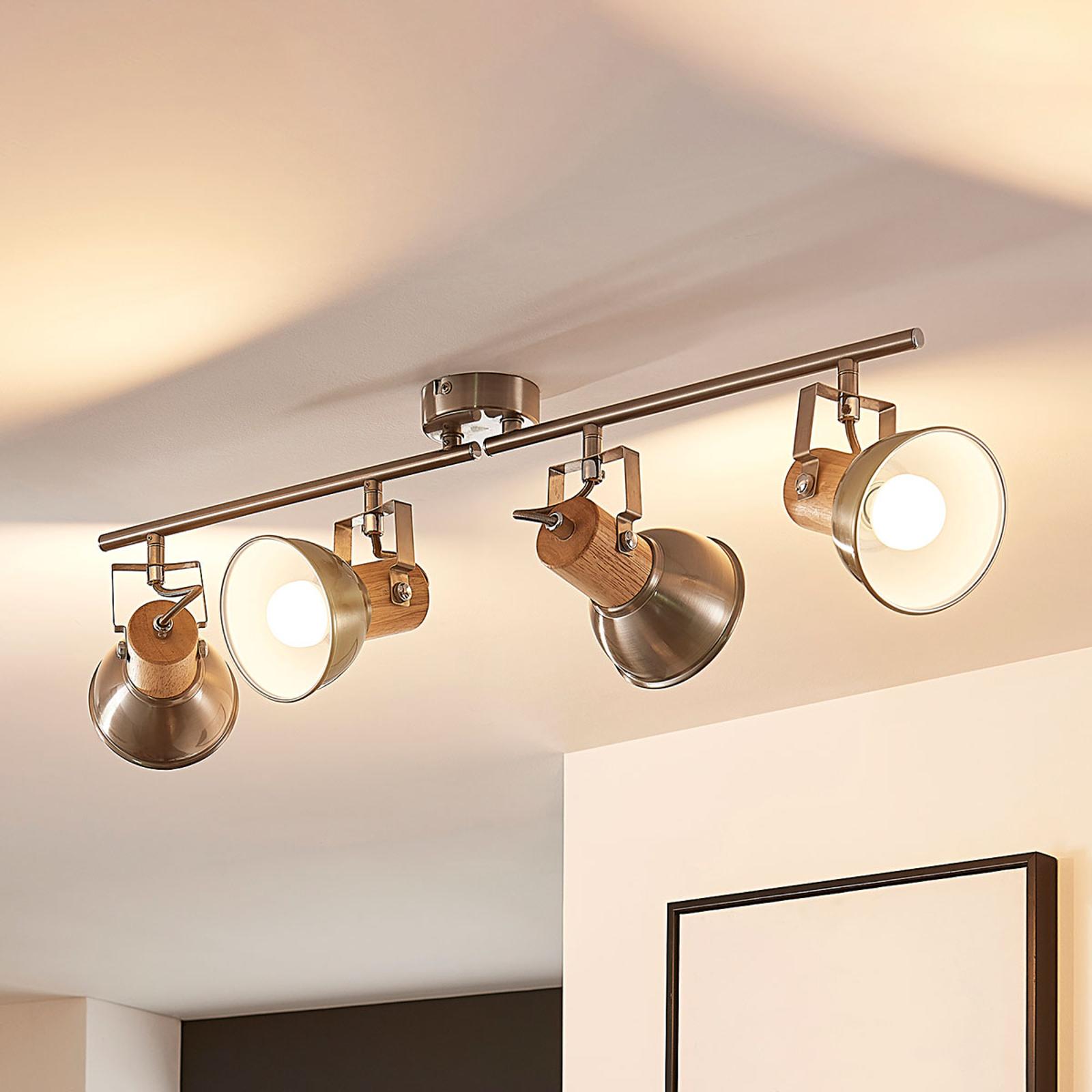 4-punktowa lampa sufitowa LED Dennis z drewnem