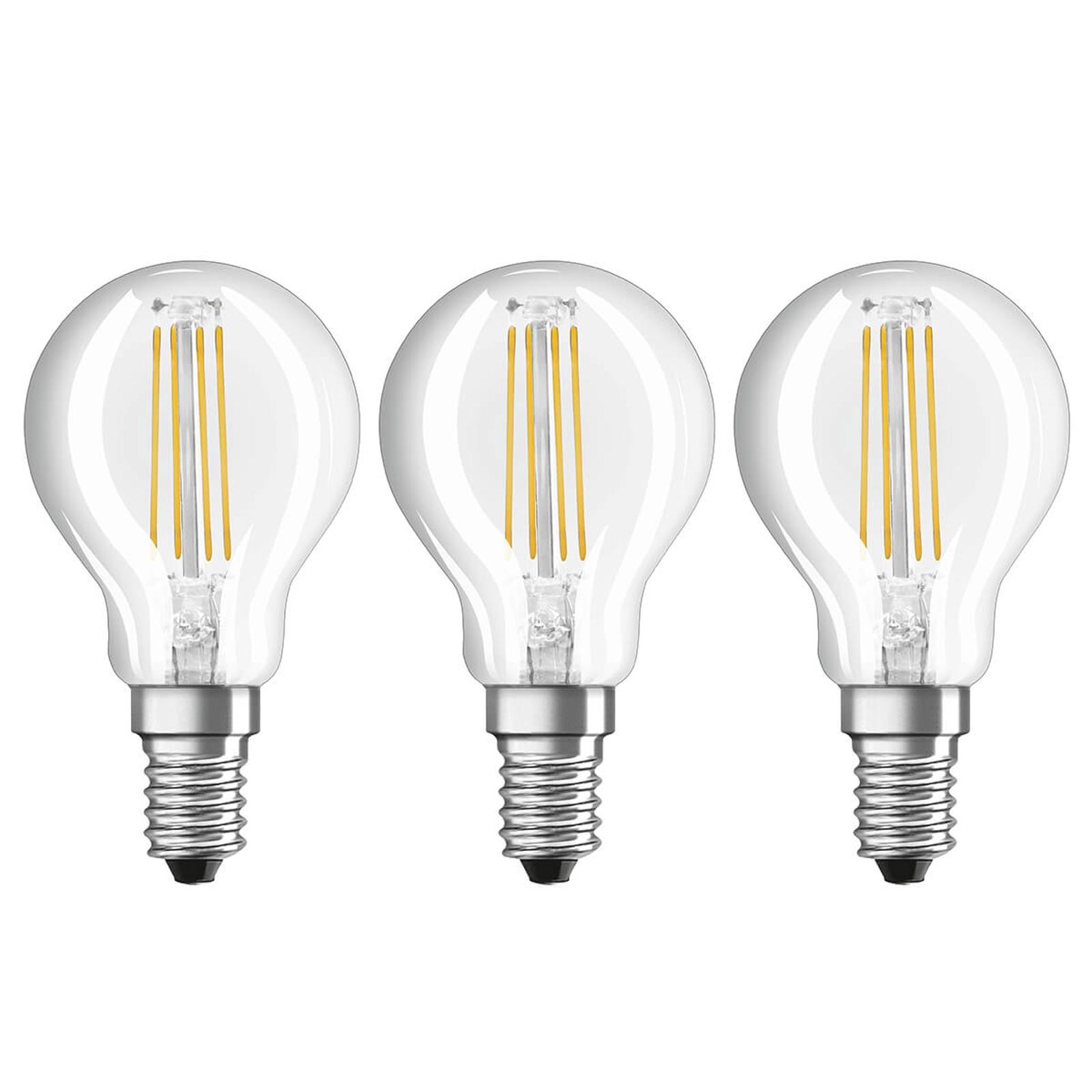 LED gloeilamp E14 4 W, warmwit, set van 3