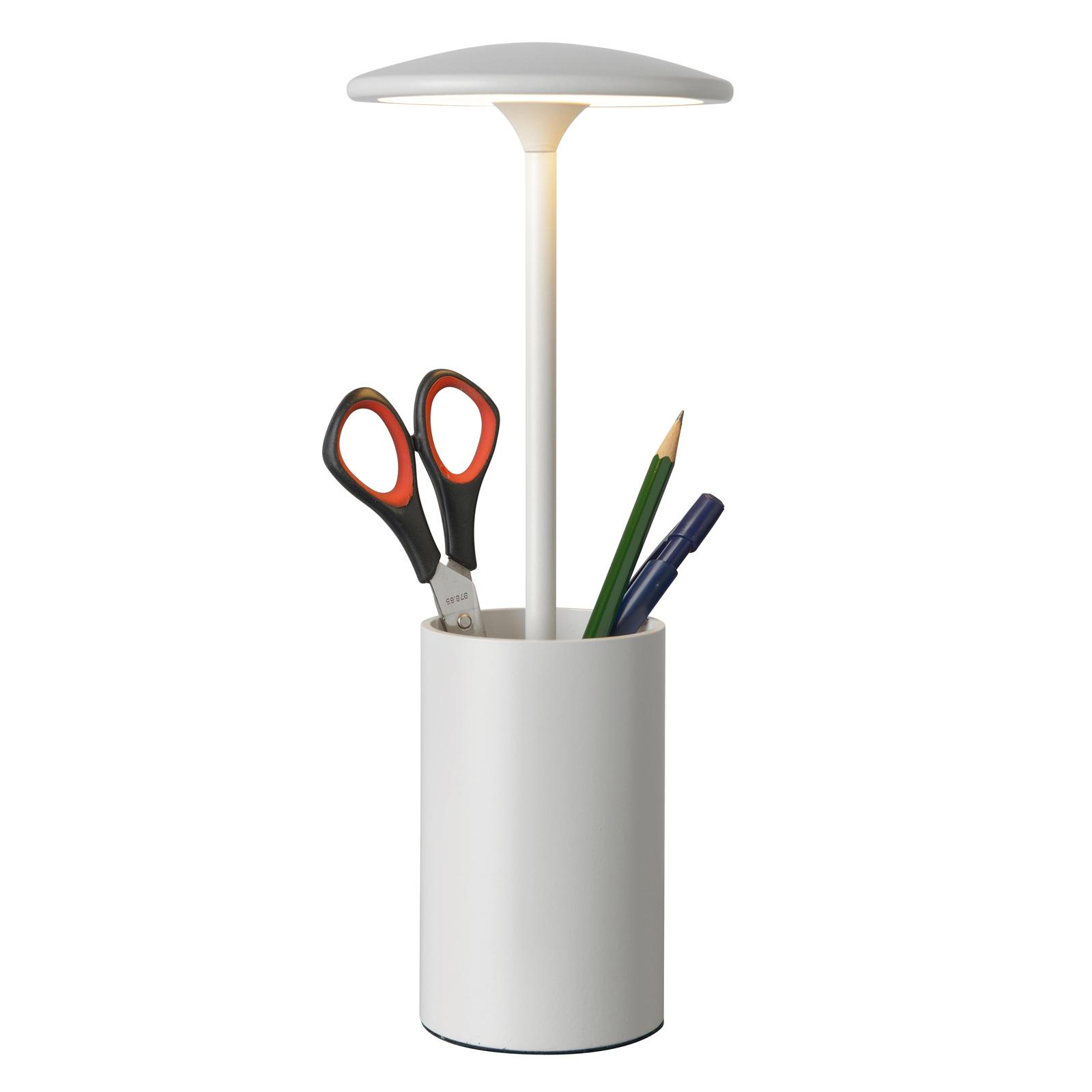 LED tafellamp Pott met opbergvat, wit