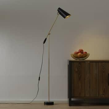 Retro-golvlampa Birdy i svart/mässing