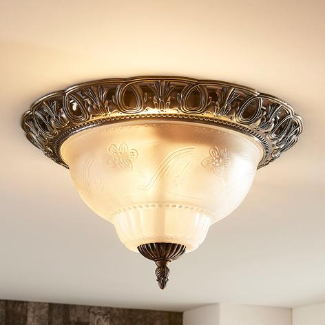 Klassieke plafondlamp Anni, geëtste glazen kap