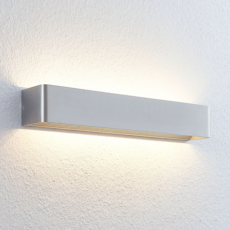 Lámpara de pared LED Lonisa alargada, níquel mate