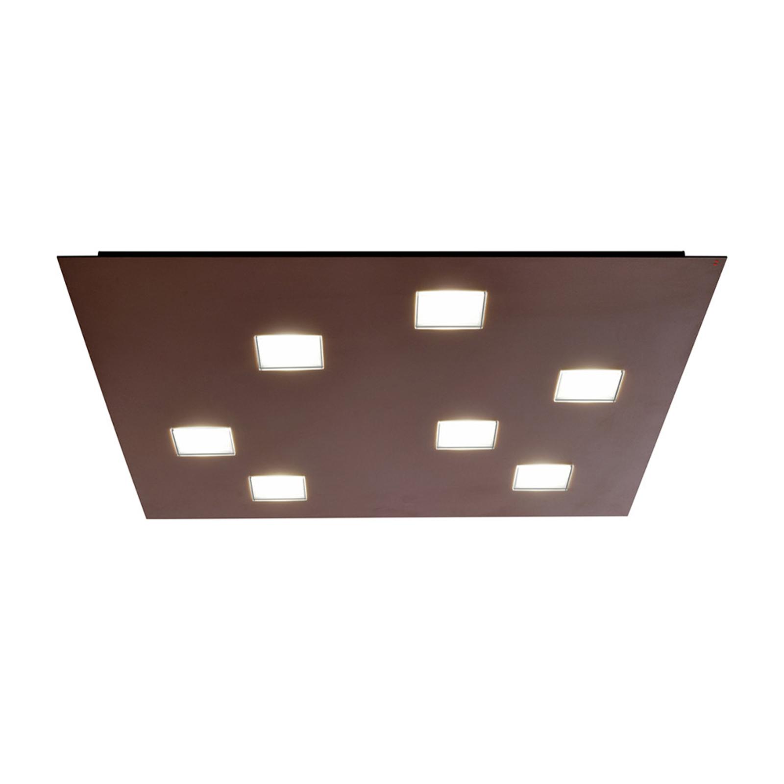 Vierkante LED plafondlamp Quarter, 7 LED's, bruin
