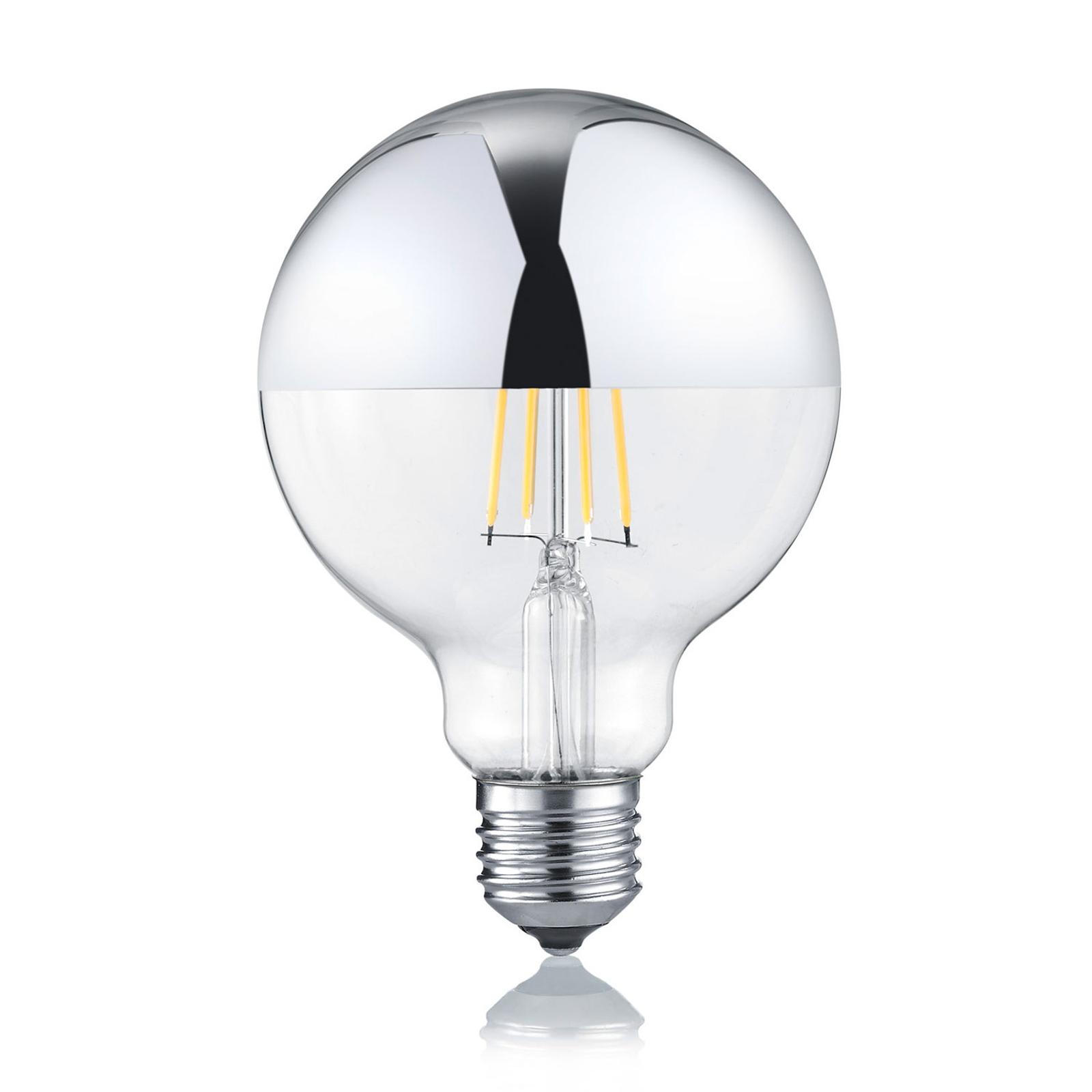 LED-Globelampe E27 7W 2.700K dimmbar Spiegelkopf