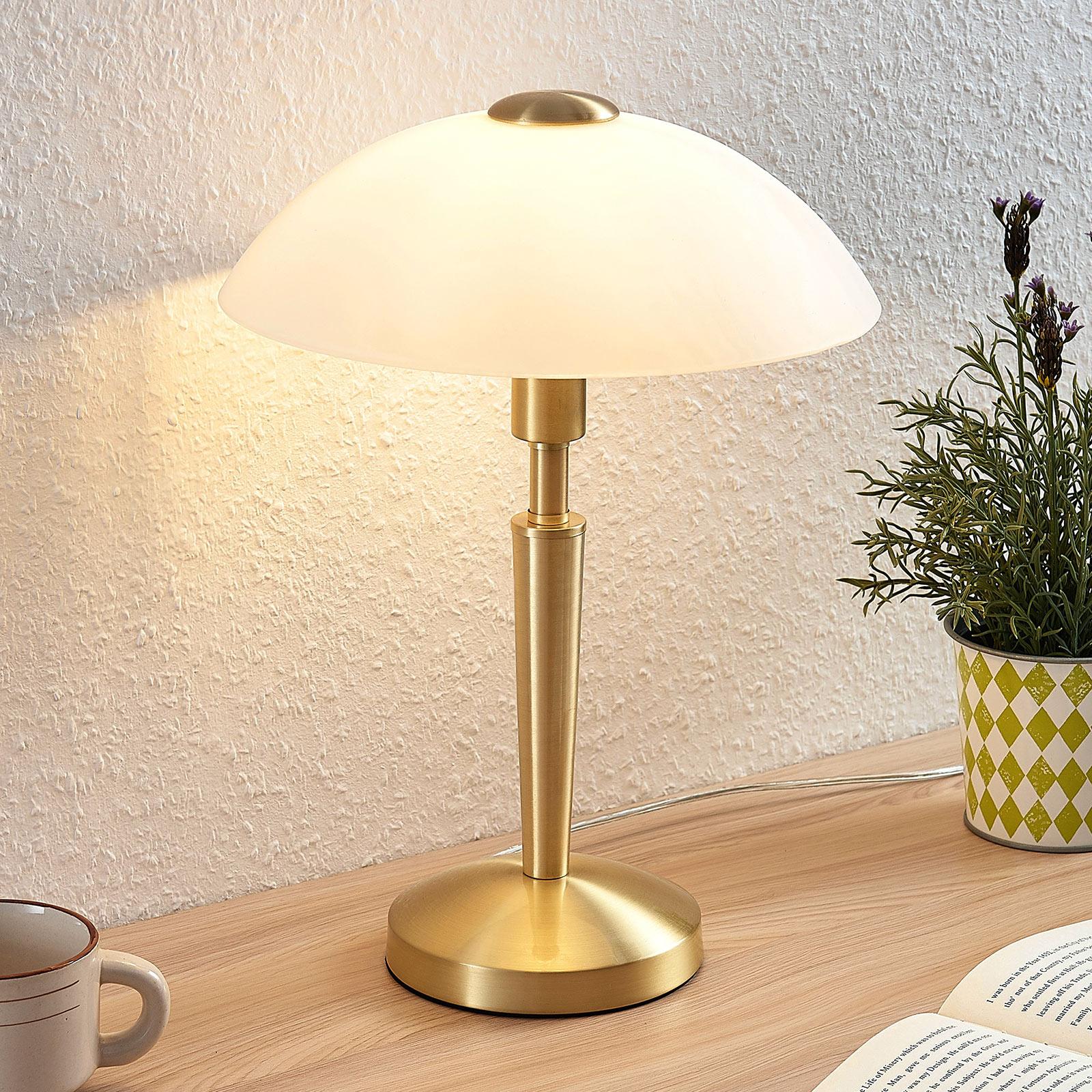 Lampa stołowa Tibby, szklany klosz, mosiężny antyk