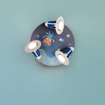 Lámpara de techo redonda Space Mission, azul