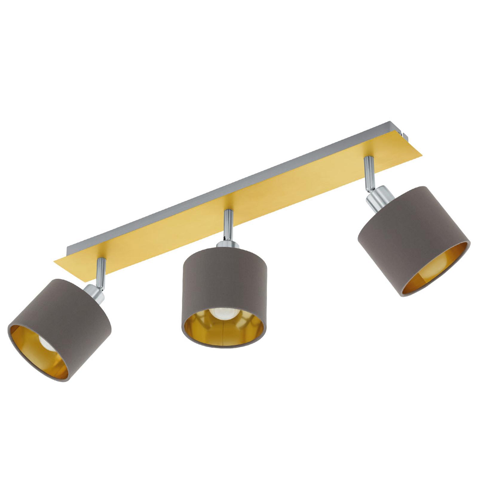 Plafondlamp Valbiano Cappuccino/Gold drie lampjes