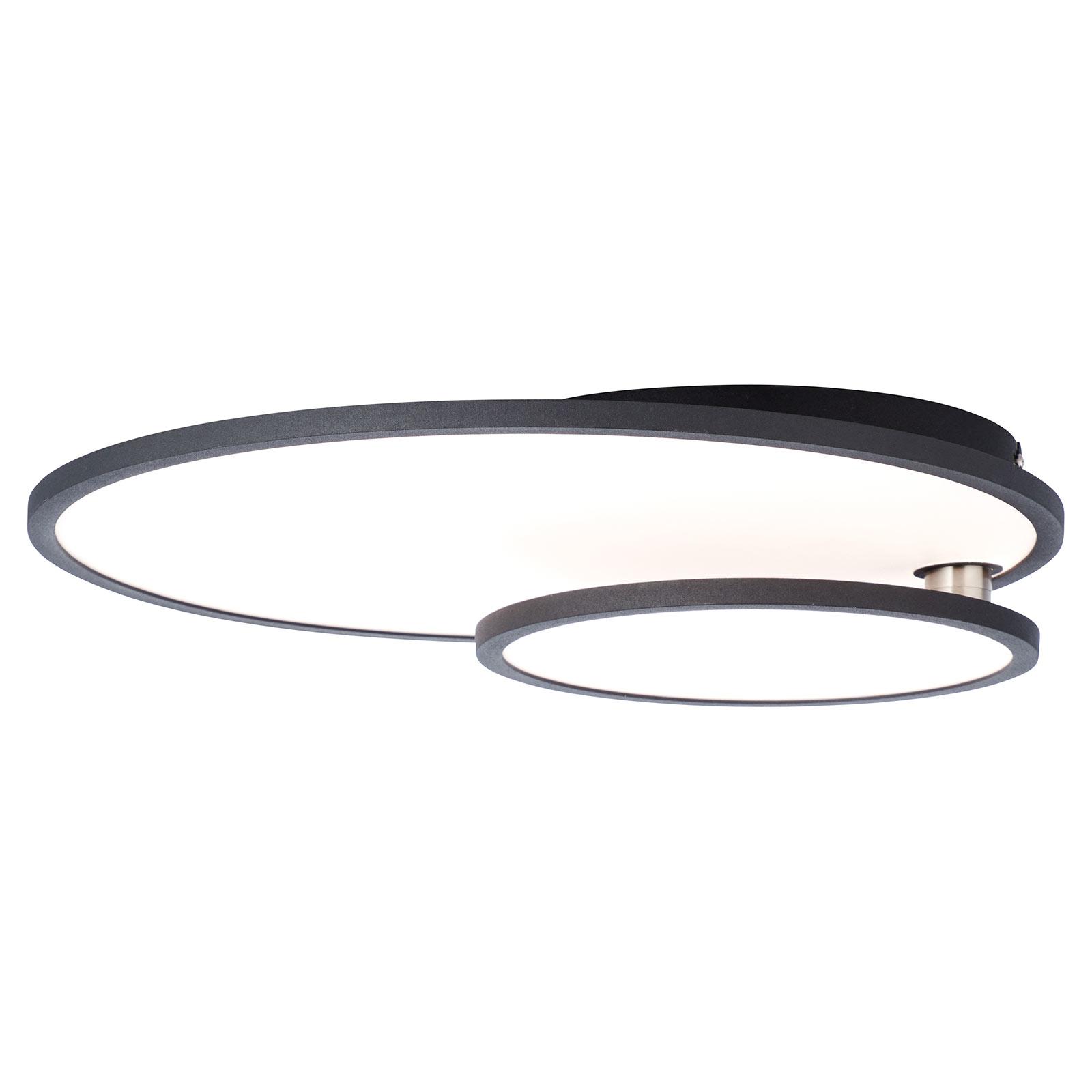 LED-taklampe Bility, rund, svart ramme