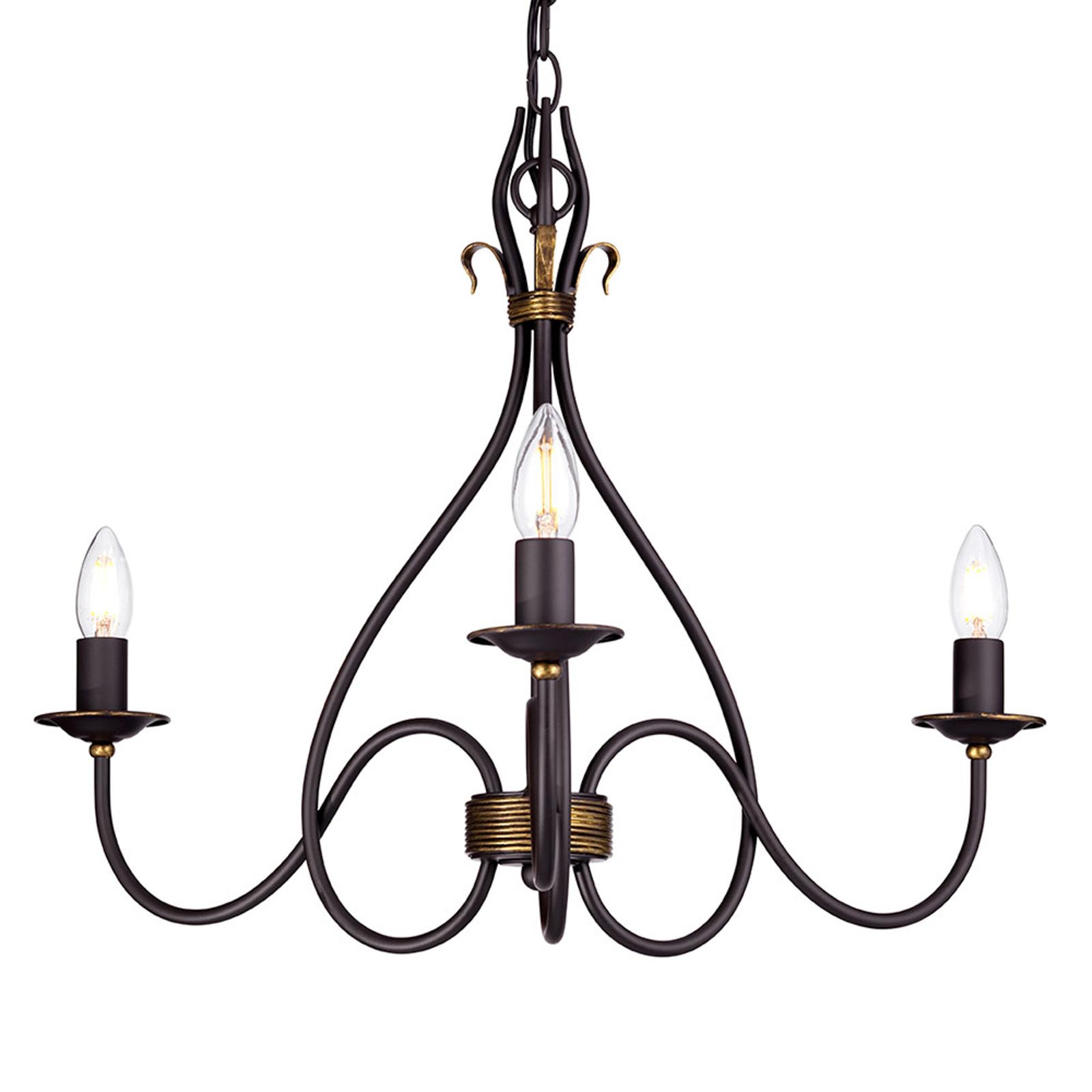 Smeedijzeren hanglamp WINDERMERE, 3-lichts