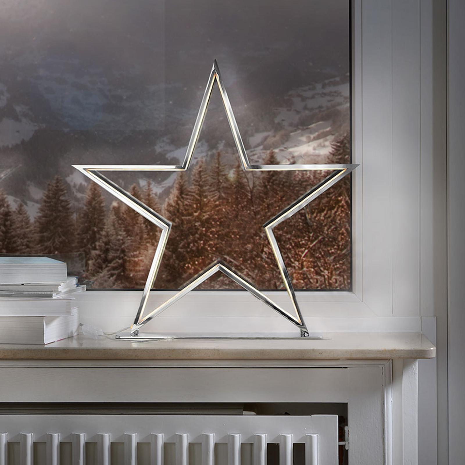 Dekorlampen Lucy med stjerneform krom høyde 50 cm