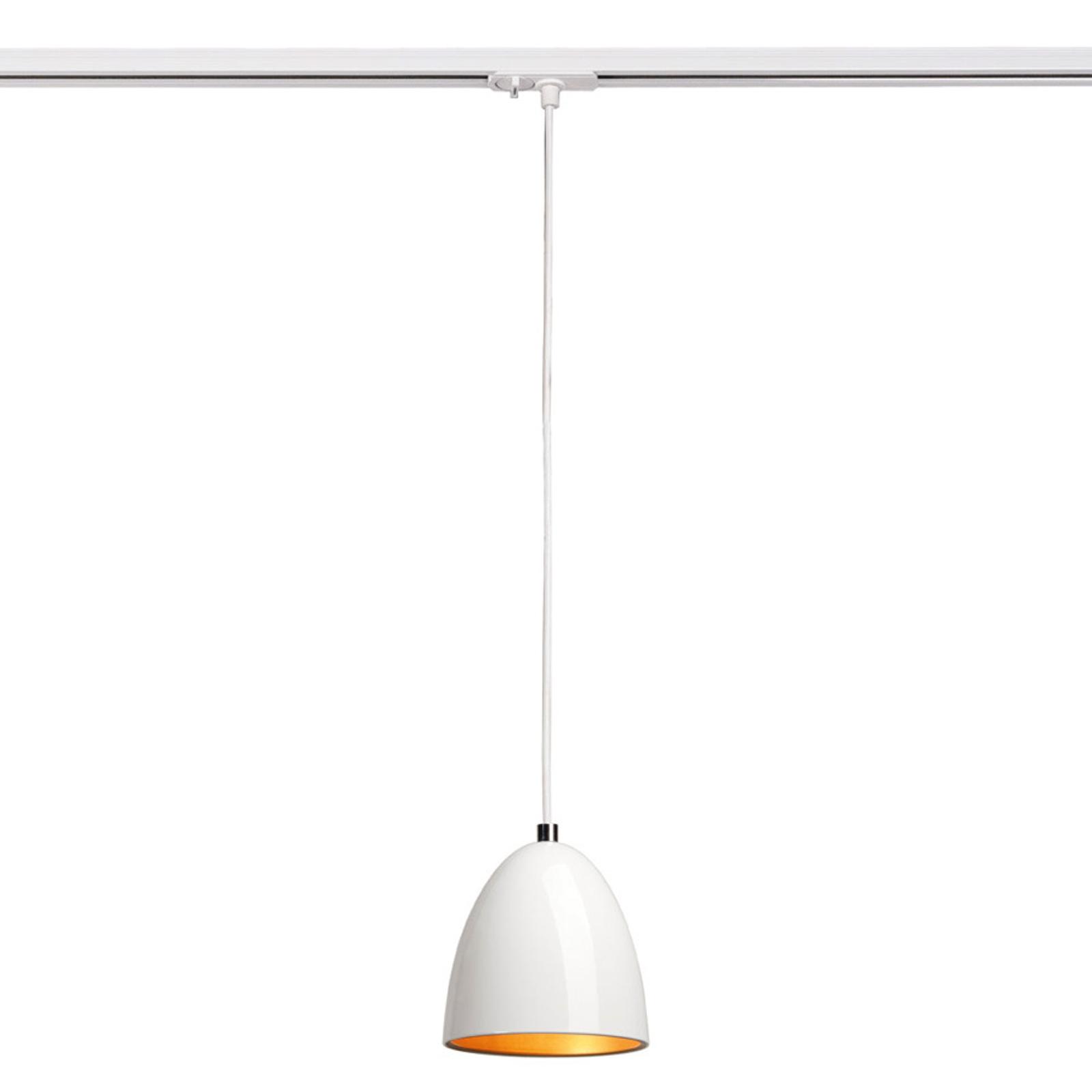 Suspension Para Cone blanche/dorée rail monophasé