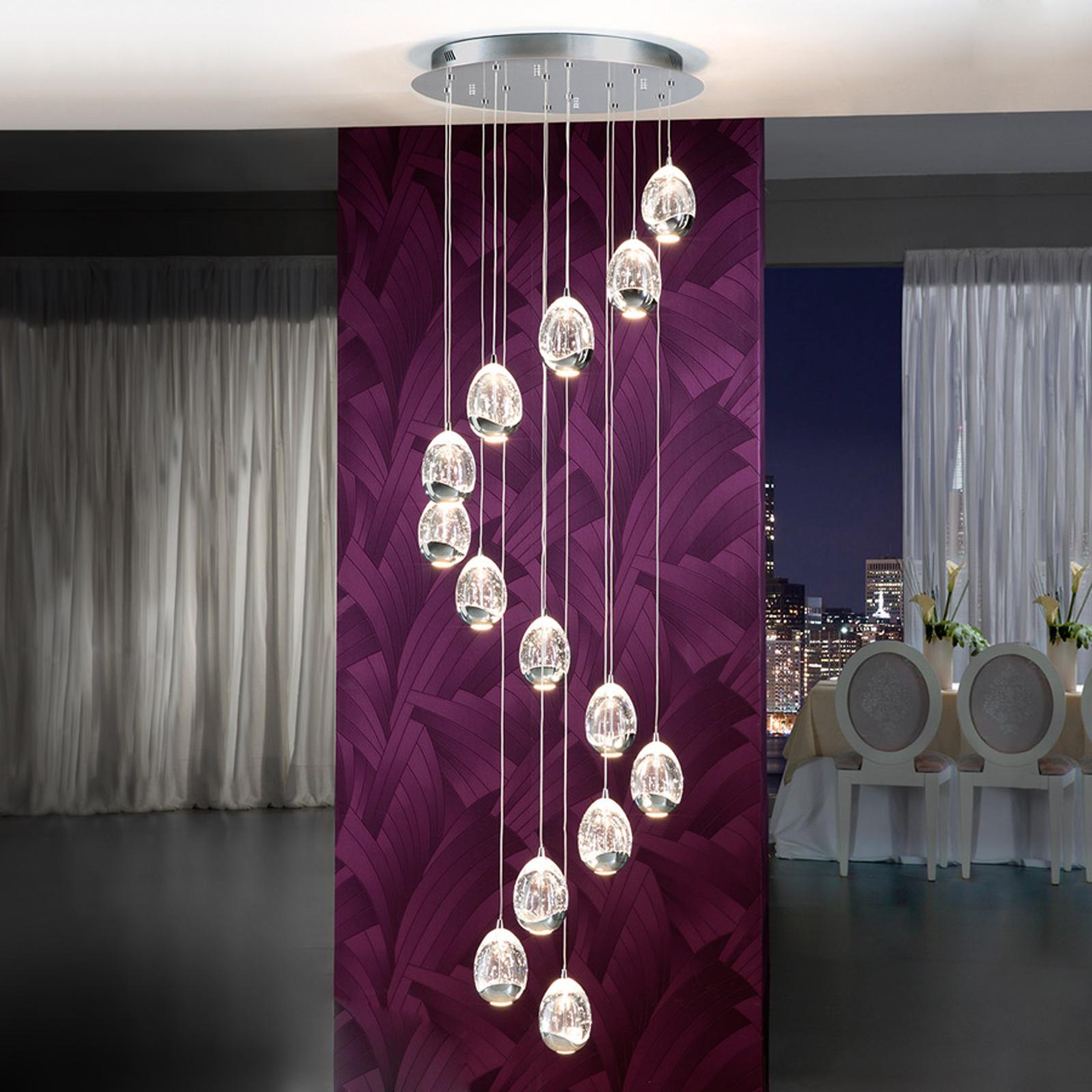 Rocio LED-pendellampe av krom med 14 lyskilder
