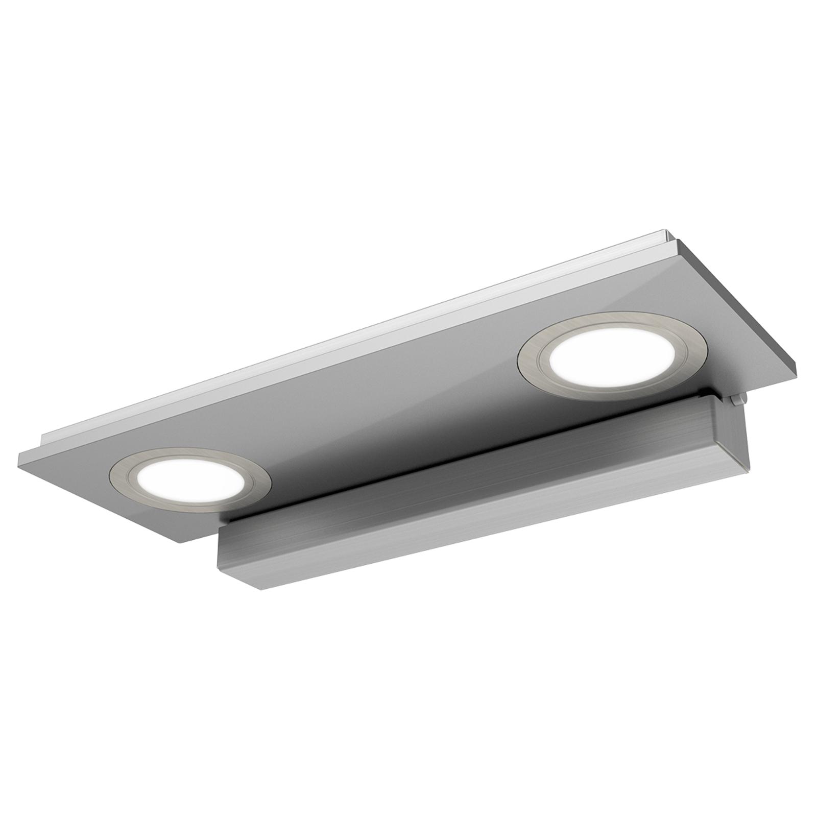 2-lichts LED-wandlamp Pano, metallic