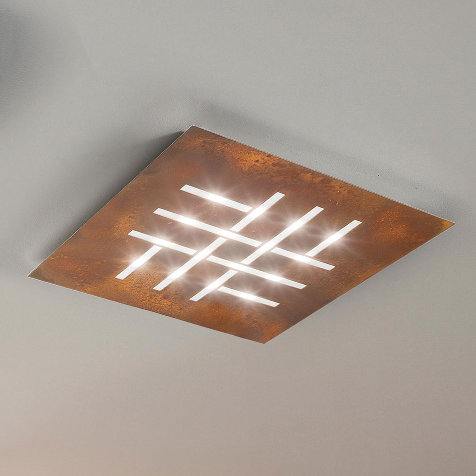 Pattern - vierkante LED plafondlamp, roest