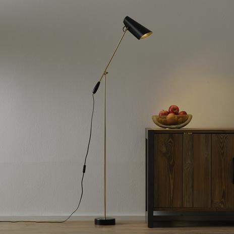 Lampa stojąca BIRDY w stylu retro, czarny/miedz.