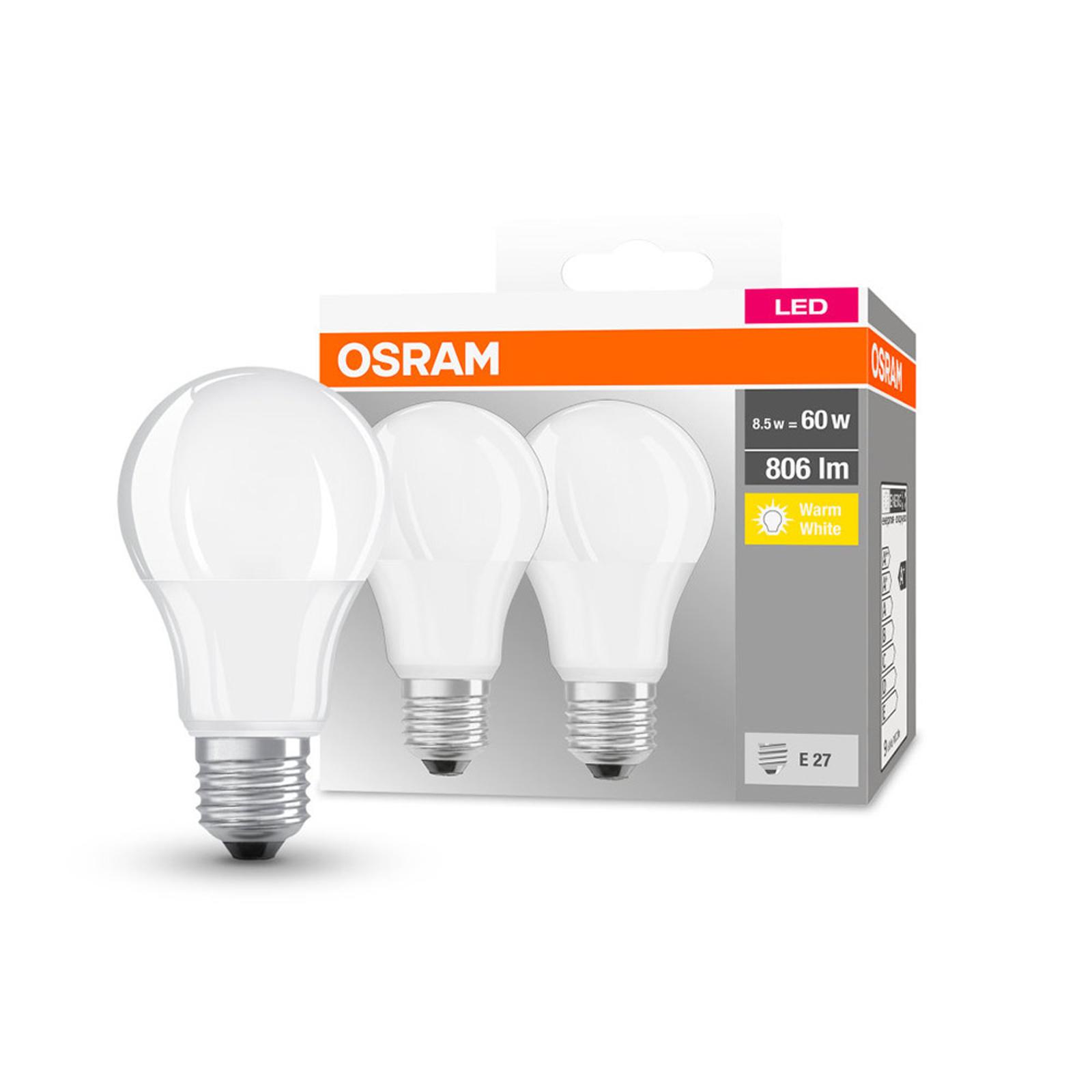 OSRAM LED-Lampe Classic E27 8,5W 2.700K 806lm 2er