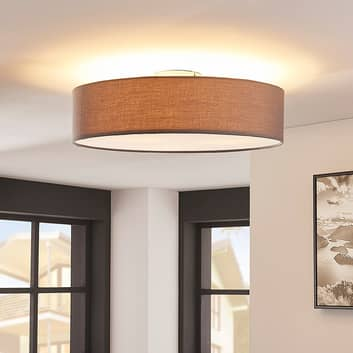 Grijze LED-plafondlamp Sebatin van stof