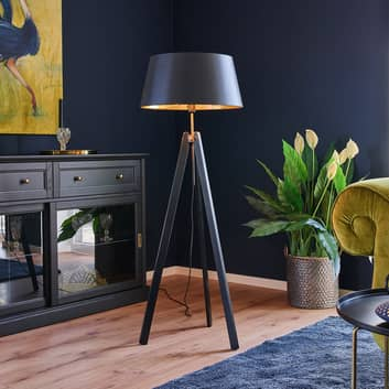 Lampada da pavimento in legno Thea nero e oro